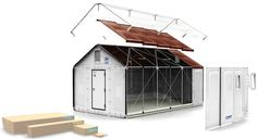 Flat-pack shelter for disaster relief that can be assembled in 4 hours. Designed by Ikea for the UNHCR. Assuming no alan wrench needed.