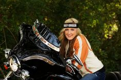 harley motorcycle senior girl pose, senior girl ideas, harley davidson senior pictures
