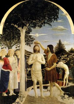 Piero della Francesca. Baptism of Christ. 1440 - 1460. National Gallery, London ArtExperienceNYC