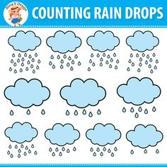 This set of Counting Rain Drops Clipart to includes 42 images that can be used for a large variety of math projects for commercial and personal use. Images are approximately 8 x 8 in in size perfect for printing and scaling. Help your Preschool Number Worksheets, Weather Worksheets, Number Puzzles, Numbers Preschool, Art Worksheets, Free Preschool, Preschool Themes, Digital Paper Freebie, Math Projects