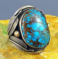 38g HUGE Pueblo Sterling 14k Gold CANDELARIA Spiderweb Turquoise MENS Ring Sz 13