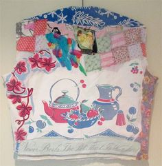 Vintage Cherry Tablecloth - Tea Pot Irish Linen Motto -Patchwork Quilt Applique Embroidery -Altered Couture - MyBonny