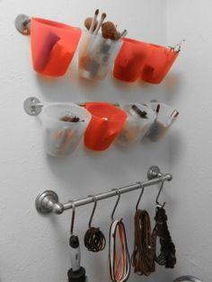 clever on back of bathroom closet door or inside