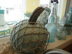Add rope netting to pumpkin for nautical style
