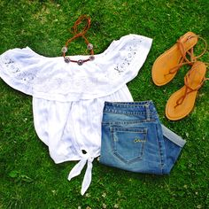 Beat the heat in light and white lace tops.