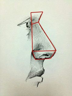 Nose from side view with red planes Drawing Heads, Nose Drawing, Human Drawing, Pencil Art Drawings, Art Drawings Sketches, Eye Drawings, Art Illustrations, Anatomy Drawing, Anatomy Art