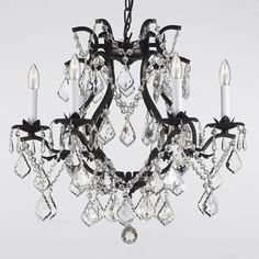 Versailles Wrought Iron and Crystal 6-light Chandelier | Overstock.com Shopping - Great Deals on Chandeliers