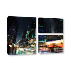Night City 3 by Philip Straub 3 Piece Gallery-Wrapped Canvas Flag Set