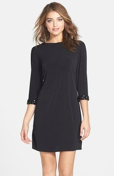 Laundry by Shelli Segal Embellished Cuff Jersey Shift Dress (Regular & Petite) available at #Nordstrom