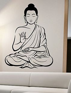 Buddha Wall Decal Vinyl Art Home Decor Good Vibes Namaste Grl Buddha Drawing, Buddha Painting, Buddha Art, Mandala Art, Mandala On Wall, Vinyl Art, Vinyl Wall Decals, Pierre Decorative, Buddha Tattoos