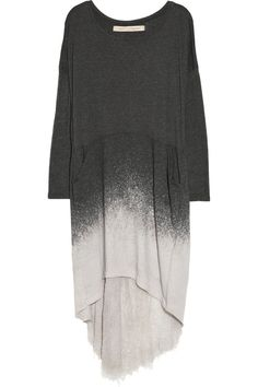Raquel Allegra|Dip-dyed shredded-back cotton-blend jersey dress|I'd wear it with a shiny black legging and high heels