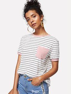 a83f74af3 Camiseta de rayas con bolsillo Camisetas Rayas Mujer