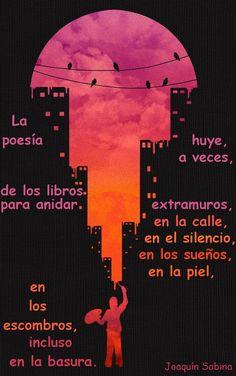 La poesía huye,a veces, de los libros para anidar extramuros,en la calle,en el silencio,en los sueños,en la piel,en los escombros,incluso en la basura.   Joaquín Sabina