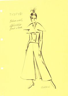 House of Pierre Cardin Fashion Sketch from the 1960's