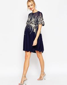 Project Nursery - Maternity Midi Skater Dress with Embellishment from ASOS