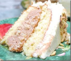 Almond Paste Cake with French Buttercream and Chocolate Cannoli Filling