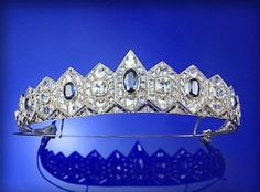 Tiara (sapphires, diamonds, gold, silver).