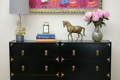 Think outside (the Ikea) box.  This redo is fabulous.  Ikea basic chest of drawers.  Add some hardware, put a few together and wa la!  A Sideboard!