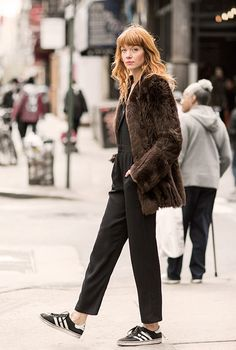 Break the Rules, Brianna Lance, street style, New York City, faux fur, jumpsuit, Adidas, The Reformation / Garance Doré