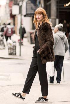 Break the Rules, Brianna Lance, street style, New York City, faux fur, jumpsuit, Adidas, The Reformation / Garance Doré