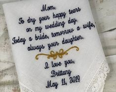 Embroidered Wedding Handkerchiefs, Fast Turnaround by elegantmonogramming Last Minute Wedding Gifts, Wedding Gifts For Groom, Custom Wedding Gifts, Personalized Wedding, Mother Of Bride Gifts, Wedding Handkerchief, Handkerchiefs, Elegant, Processing Time