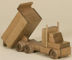 Large WOOD DUMP TRUCK Amish Handmade Wooden Construction Working Toy