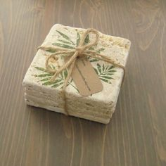 Stone Coasters Green Ferns Hand Stamped Tile by OakValleyCrafts, $18.00