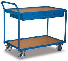GTARDO.DE:  Tischwagen mit 2 Schubladen, Tragkraft 250 kg, Ladefläche 1000 x 600 mm, Maße 1125 x 624 x 980 mm, Rad 125 mm 309,00 €
