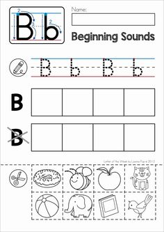 FREE Phonics Letter of the Week B. Beginning sounds cut and paste Letter B Worksheets, Printable Preschool Worksheets, Free Kindergarten Worksheets, Phonics Worksheets, Cut And Paste Worksheets, Letter Tracing, Free Worksheets, Free Preschool, Number Tracing