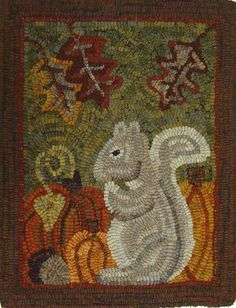 This listing is for the rug hooking pattern Silvia Squirrel on primitive linen or monks cloth. This is for the pattern ONLY. The finished rug is Rug Hooking Designs, Rug Hooking Patterns, Rug Patterns, Applique Patterns, Monks Cloth, Punch Needle Patterns, Rug Inspiration, Hand Hooked Rugs, Wool Art
