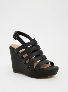 83176909838b Strappy Faux Leather Wedges (Wide Width)