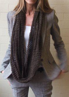 Brown merino infinity scarf by ileaiye on Etsy,