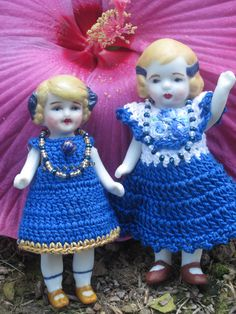 """A 4"""" & 4.5"""" all bisque Japan dolls that came together as a package deal. 2 dolls are better than 1! They are looking  chipper after a day @ La Doll Spa, and a rummage in the doll stash for spiffy new dresses. I love the wee one's spicy brown mustard shoes."""
