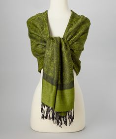 Beautiful Paisley Pashmina-Silk Blend Scarf, love the different shades of green!