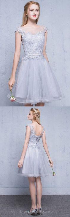 Short Prom Dress, Princess Prom Dresses, Silver Homecoming Dress, Cheap Homecoming Dresses, Tulle Cocktail Dress