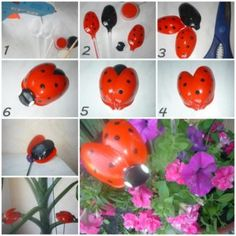 This is such an easy DIY and they will look gorgeous in your garden beds. Upcycling plastic spoons into small decorative ladybugs. You can give this idea to your kids for t Plastic Spoon Crafts, Plastic Spoons, Plastic Silverware, Plastic Art, Plastic Canvas, Ladybug Crafts, Ladybug Party, Diy Recycling, Spring Crafts