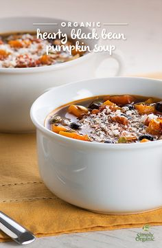 Well-seasoned with savory herbs and spicy chili powder, this hearty black bean pumpkin soup recipe will quickly become a cold-weather favorite. Pumpkin Black Bean Soup Recipe, Pumpkin Soup, Pumpkin Recipes, Fall Recipes, Holiday Recipes, Vegan Soups, Vegetarian Recipes, Healthy Recipes, Healthy Soup