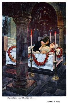 'Povídky ze Shakespeara / Tales From Shakespeare' illustrated by Artuš Scheiner. Disney Kunst, Disney Art, Art And Illustration, Romeo And Juliet Poster, William Shakespeare, Tarot, Illustrators, Fantasy Art, Dark Art