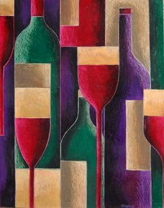 ARTFINDER: Red wine? White wine? by Tiffany Budd - This is a bold and interesting oil pastel painting of bottles and glasses completed in Tiffany's Fractured style. This comes unframed.