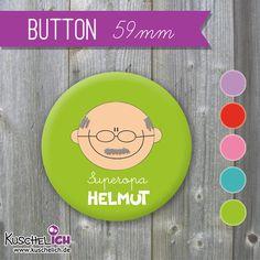 Geschenke für Männer - XL Button ♥ Wunschgesicht & Name/Text - ein Designerstück von KuschelICH bei DaWanda