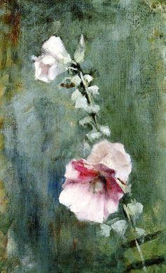 Hollyhock - Dennis Miller Bunker c.1886  impressionism