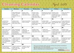 FREE printable cleaning calendar for April 2013 - this makes spring cleaning your home a breeze, with just a little bit to do each day!