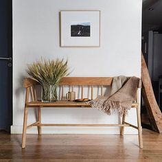 Editor obsession: hk living's wooden bench rue entryway bench, bench decor, Entryway Decor, Bedroom Decor, Entryway Ideas, Rustic Entryway, Entry Bench, Hallway Bench, Entryway With Bench, Bench Decor, Foyer Decorating
