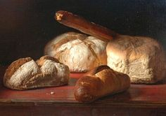 Johannes Hendrik Eversen Still Life with Bread 1969 Be Still, Still Life, Food Painting, Gluten Intolerance, Our Daily Bread, Yeast Bread, Edible Art, Art Art, Jelly