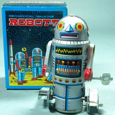 A faithful reproduction of the 1950's Japanese tin wind up robot. Circa the 1980's and rumored to have been made in Korea. Old stock and about 3.5 inches tall.