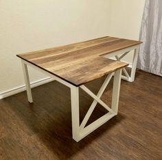 L Shaped Double X Desk – Handmade Haven Diy Office Desk, Diy Computer Desk, Diy Wood Desk, Diy Desk, Diy Furniture Plans, Diy Furniture Projects, Pipe Furniture, Furniture Vintage, Furniture Design