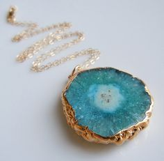 Teal Blue Stalactite Necklace in Gold  www.etsy.com/shop/443Jewelry