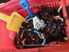 Dirt Cake in a dump truck for construction theme party