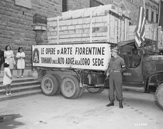 One of the trucks that transported the art treasures to Florence, Italy. The paintings had been stolen by the German Army and recovered by the U.S. Army and returned to the city of Florence. 7/23/45.