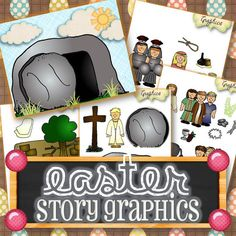 Twenty-four graphics that can be laminated, made into puppets, flannel board characters, etc. to help adults and children narrate the Easter Story. Graphics include:   - Jesus - Disciples - Palm Leaves - Crown of Thorns - Nails - Silver Coins - Wine - Bread - Donkey - People - White Cloth - Tomb - Stone - Garden of Gethsemane - Cross - Angel - Jerusalem - Mary Magdalene - Roman Soldiers - Soap - Rope - Cup - Spices - Rocks